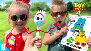TOY STORY 4 Movie Art Challenge!!! DIY FORKY and 3 Marker WOODY! KIDCITY