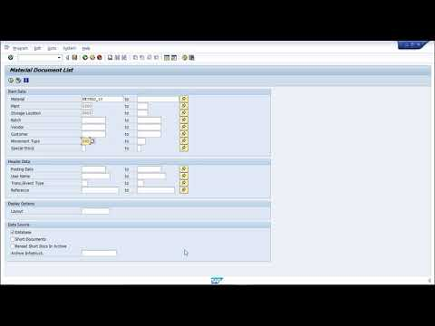 SAP PP - Material Document List - YouTube
