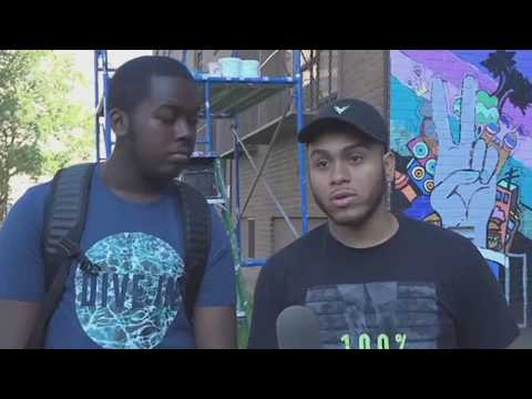 News 12: NYCHA youths paint mural at Castle Hill Houses to promote peace