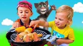 Мой Говорящий Том 2 в РЕАЛЬНОЙ ЖИЗНИ весело играет с детьми в барбекю