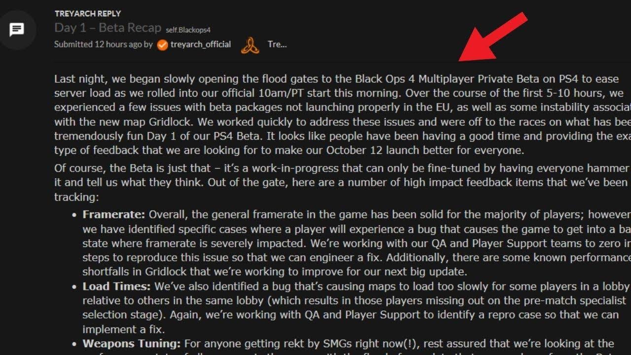 Treyarch Leaked reddit post- call of duty black ops 4 private beta  feedback!!!!!!!!