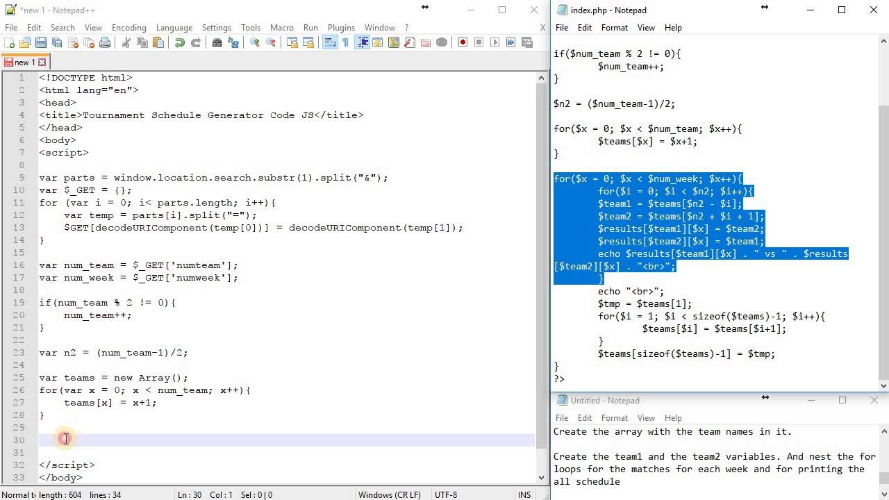 Tournament Schedule Generator Javascript Code