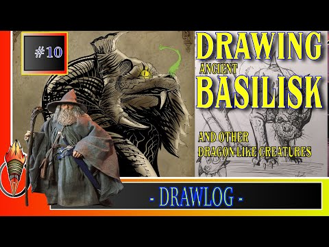 I DREW an ANCIENT BASILISK, and other MONSTERS plus some REMARKS on LIZARDS ANATOMY DRAWLOG #10