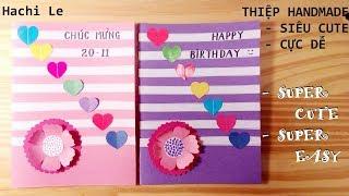 Cách làm thiệp hoa với trái tim siêu đẹp nhưng cực dễ - How to Make a Beautiful Card with Hearts