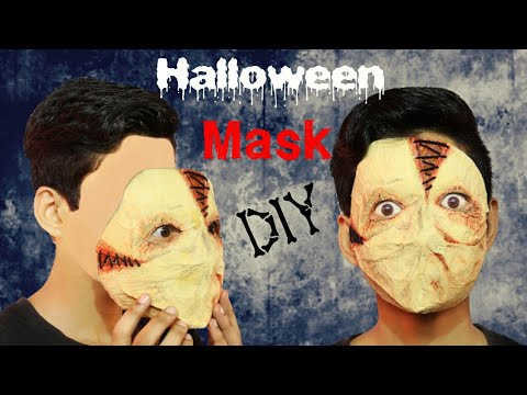 Creepy man with stitches DIY Halloween mask out of paper napkins ABS
