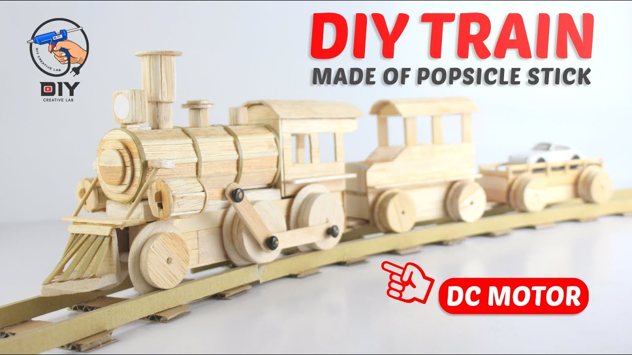 Download DIY Train Made of Popsicle Stick with DC Motor