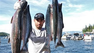 CATCH and COOK in ALASKA!!! King + Coho + Pink Salmon **TASTE COMPARISON**