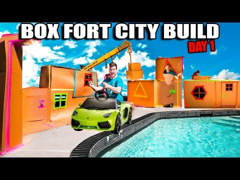 BOX FORT CITY! 24 Hour Challenge Day 1 - Building Our Billionaire Houses