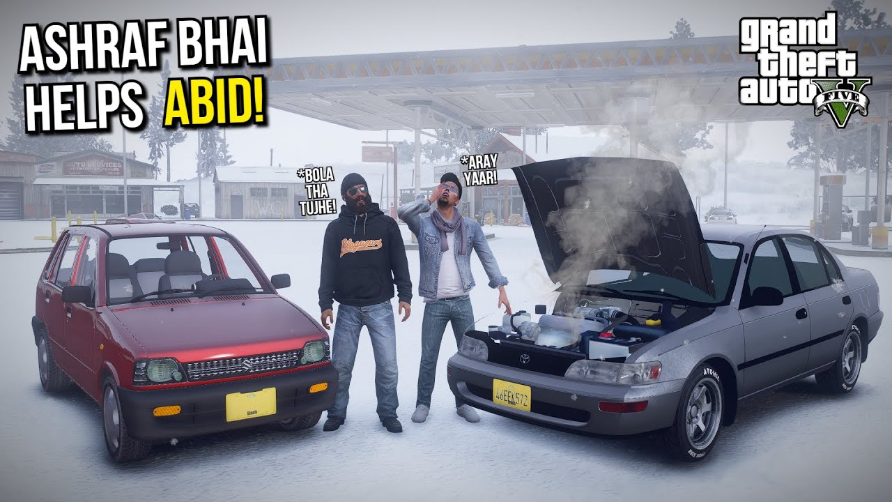 ASHRAF BHAI HELPING ABID IN SNOW FALL! | GTA 5 MODS PAKISTAN