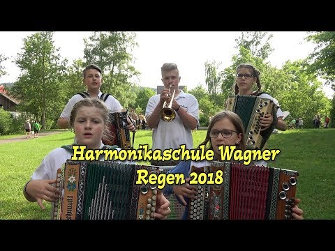 Harmonikaschule Wagner beim Drumherum in Regen 2018