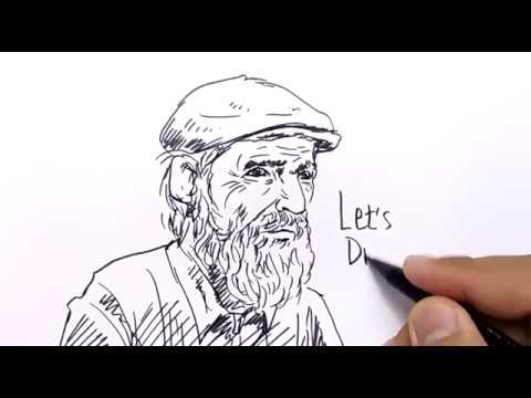Very Easy How To Draw Old Man For Kids Youtube