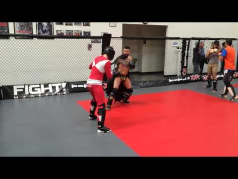 Batman vs the Red Power Ranger (kickboxing)