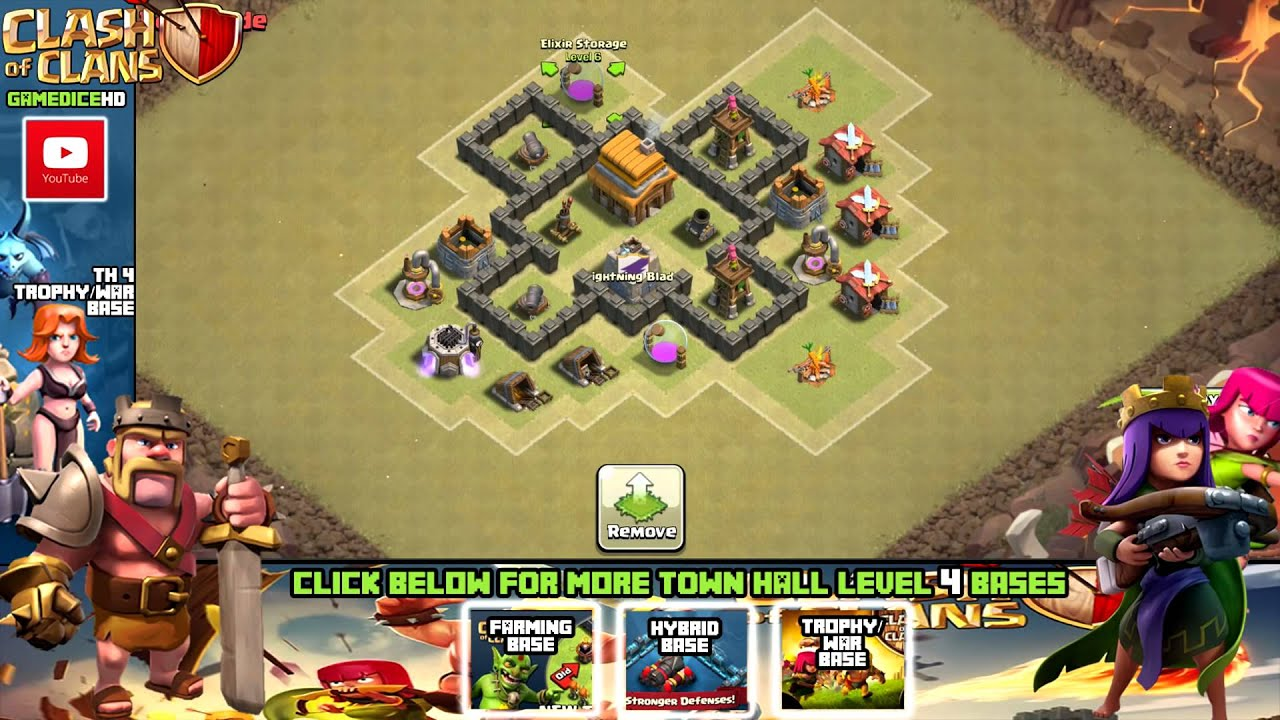 Clash of clans town hall 4 defense coc th4 best war base layout