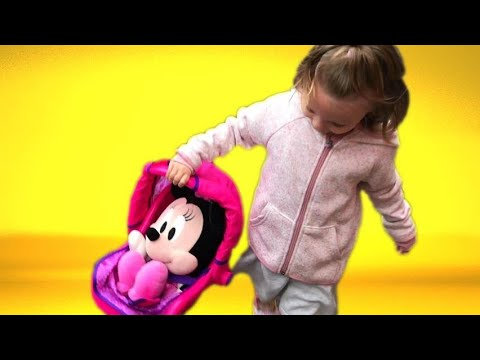 Cora Shopping With Disney Junior Minnie Mouse & Baby Doll Carrier | Token Rides