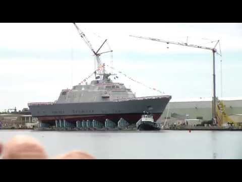 USS Little Rock (LCS-9) Side Launch at Marinette Marine Corporation