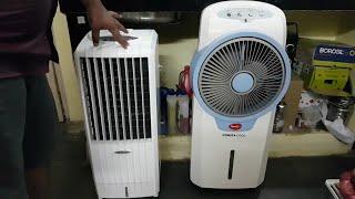 Pigeon Consta Cool Personal Air Cooler vs Symphony Diet 8i Air Cooler Full Review in Telugu
