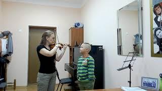 Самые первые уроки скрипки.