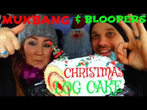 MUKBANG | Husband & Wife Eating Christmas Log Cake (With Bloopers)
