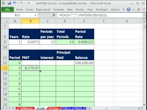excel magic trick 510 amortization table that changes when year