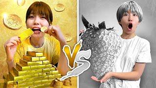 【検証】銀色のお米!?24時間ゴールド VS シルバーの食べ物生活やってみた!〜Gold vs Silver / Color Challenge!〜