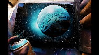 Turquoise planet SPRAY PAINT ART BY Skech