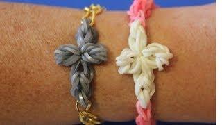 Repeat youtube video Cómo hacer una pulsera de ligas con cruz de gomas