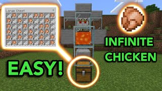 EASIEST AUTOMATIC CHICKEN FARM in Minecraft Bedrock (MCPE/Xbox/PS4/Nintendo Switch/Windows10)
