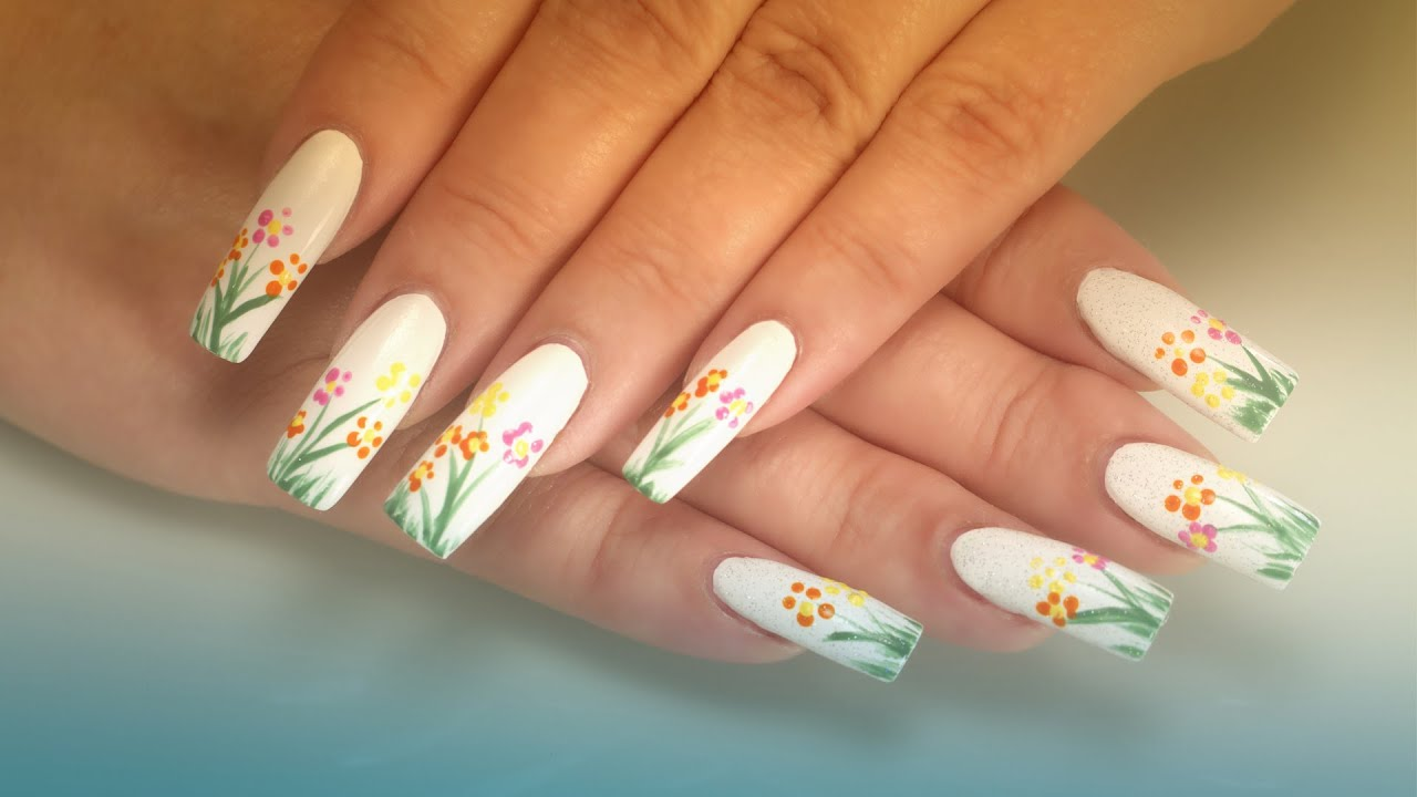 Nail Art Hand Painted Flowers Youtube