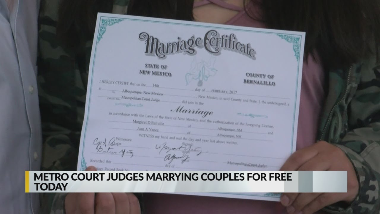 Bernalillo County Metro Court to wed dozens of couples on Valentine's Day