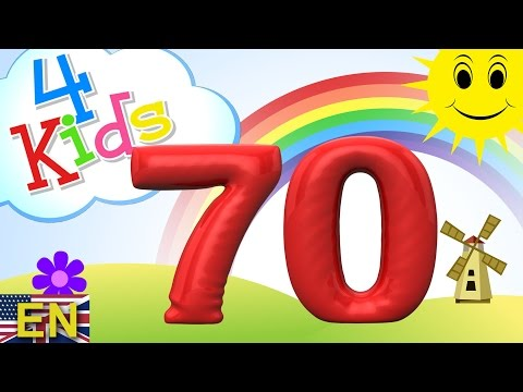 Numbers counting from 61 to 70 for children. Counting sixtyone to seventy (english)