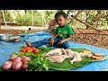 Full Chicken Curry Cooked by 2 Years Old Girl | Village Cooking Show | Kiddy Kitchen