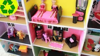 DIY Miniature Doll BookCase with TP rolls + Mini DollHouse Tour - Easy Doll Crafts