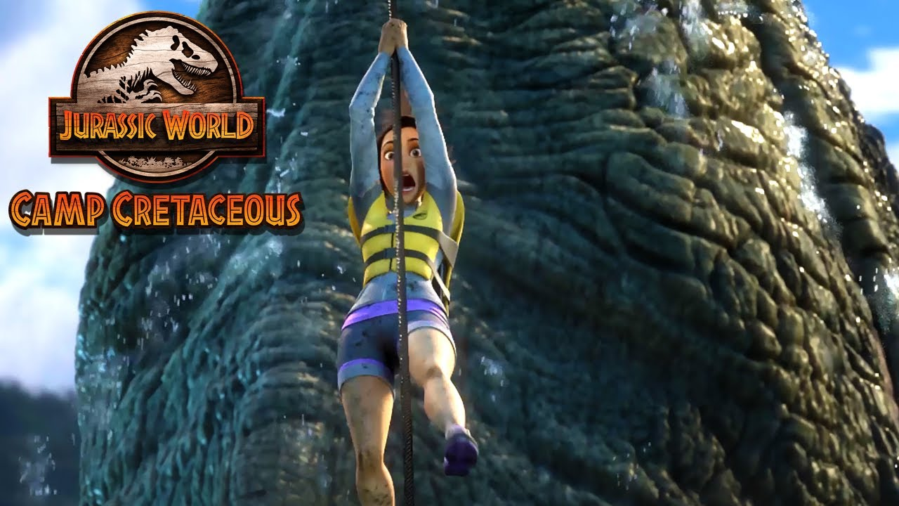 Download Escaping the Mosasaurus Pool | JURASSIC WORLD CAMP CRETACEOUS | NETFLIX