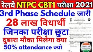 RRB NTPC cbt1 phase-III जारी हुआ Exam not attend हो पाया दुबारा मौका मिलेगा या नहीं city intimation