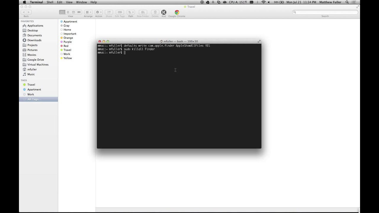 Mac OS X - How to Hide and Show Hidden Files