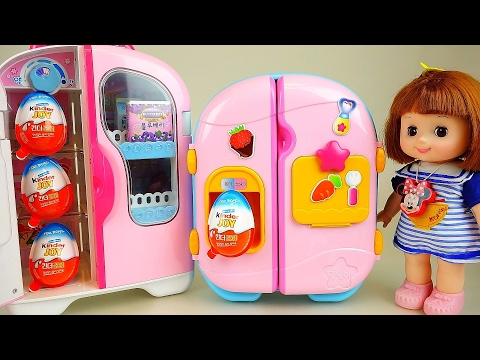Baby Doll refrigerator and Kinder Joy Surprise eggs toys
