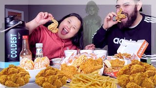 POPEYES CHICKEN MUKBANG 먹방 EATING SHOW + SCARY AF STORYTIME!
