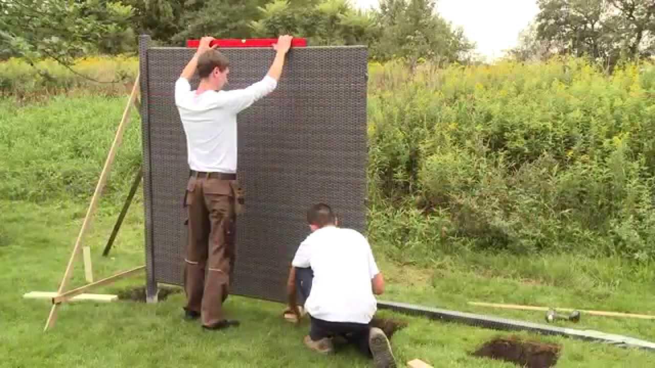 Aufbau von WEAVE Poly Rattan Sichtschutz von Brügmann TraumGarten