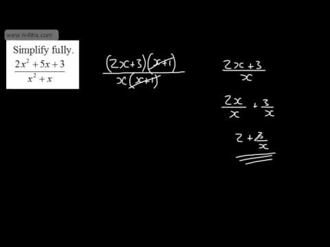 GCSE Maths - Algebraic Fractions 1 - Simplifying, Adding & Subtracting - Higher A/A* - Core 1 AS
