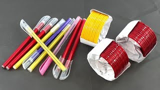 Wow !! beautiful wall hanging Out of old pen & old bangles   best out of waste idea