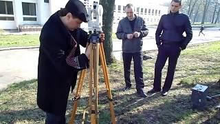 Центрирование теодолита на местности Д-45 15.04.14