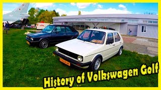 Classic German Cars from the 80s. History of Volkswagen Golf 1. Old Cars Show 2019.