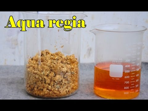 Gold Aqua regia dissolving. Chloroauric acid. gold refining recovery. Pure gold precipitate.