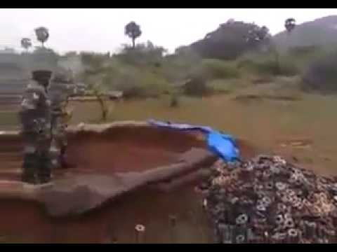 Indian army soldiers firing 81mm mortars.