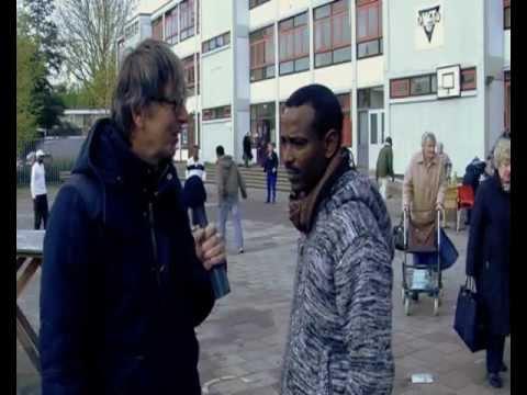 Vluchtelingen op de Notweg in Amsterdam West