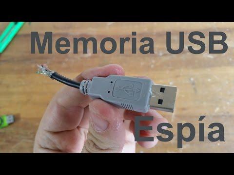 Memoria USB Espía secreta escondida en cable cortado
