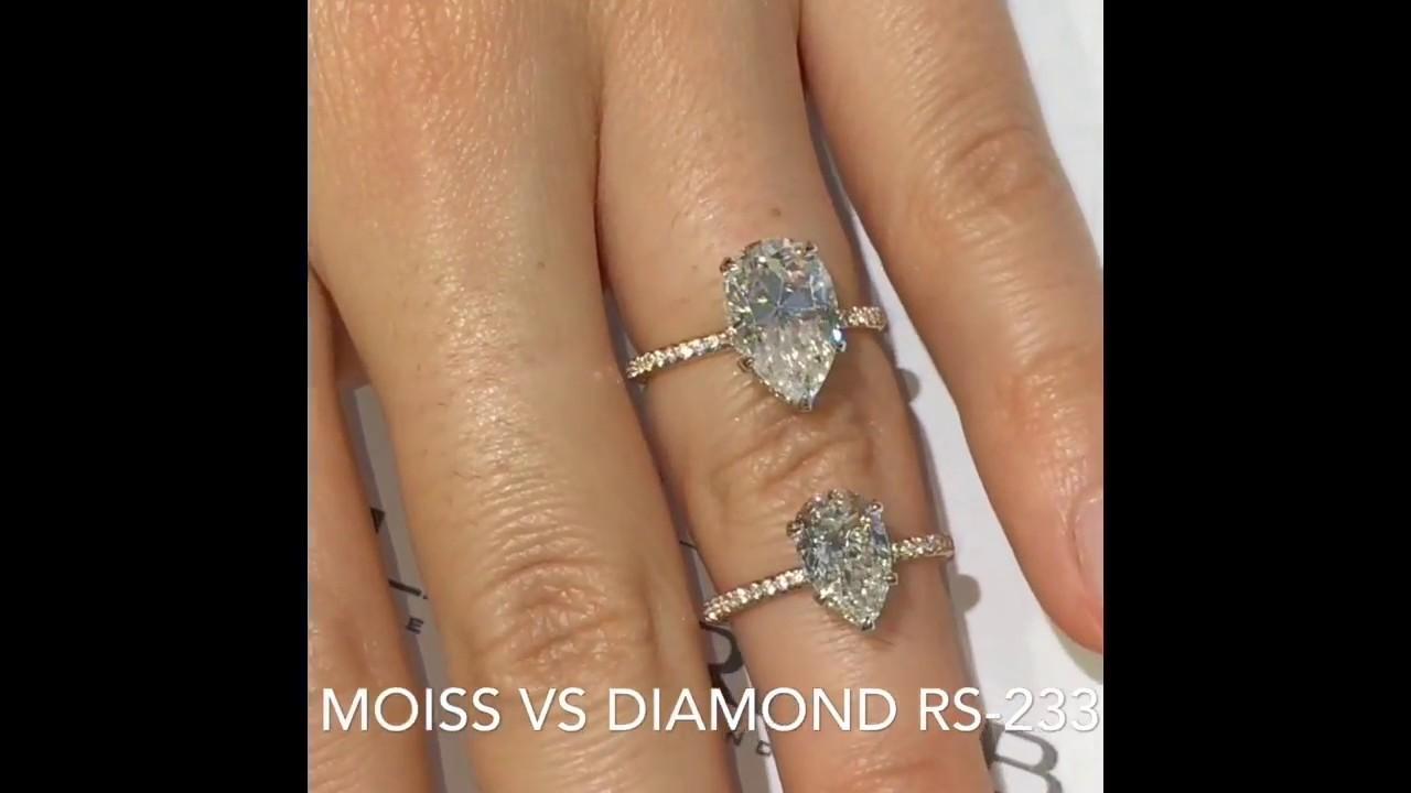 Moissanite Vs Diamond Pear Shape Engagement Rings Youtube
