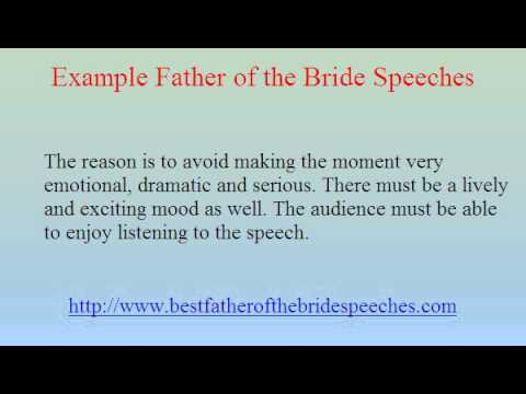Example father of the bride speeches youtube for Father of the bride speech templates