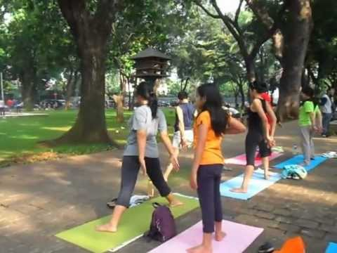 Another side stretch in Yoga Gembira (Social Yoga Club) Taman Suropati Jakarta