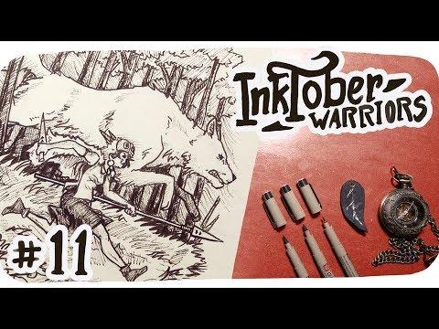 inktober-page-11-•-running-with-wolves-(-princess-mononoke-fan-art-)